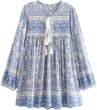 Goodnight Macaroon 'Katie' Bohemian Print Pink Tassel Dress