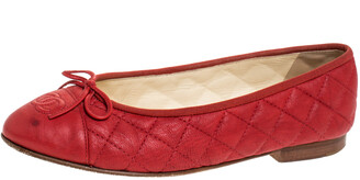 Chanel Red Quilted Leather CC Ballet Flats Size 38.5