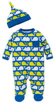 Offspring Babys Whale Print Footie and Hat Set