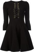 Philipp Plein lace-up neck flared dress - women - Viscose/Polyester - M