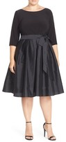 Adrianna Papell Plus Size Women's Mixed Media Fit & Flare Dress