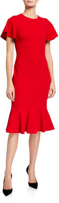 Calvin Klein Flutter Short-Sleeve Dress with Flutter Bottom