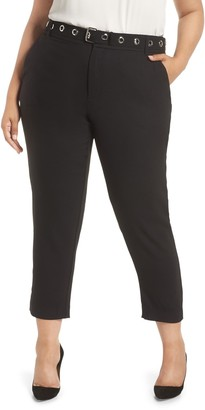 Rachel Roy Grace High Rise Grommet Belt Pants (Plus Size)