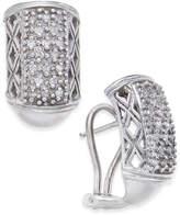 Macy's Diamond Cluster J-Hoop Earrings (1/4 ct. t.w.) in Sterling Silver