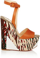 Christian Louboutin Women's Tromploia Leather Wedge Sandals