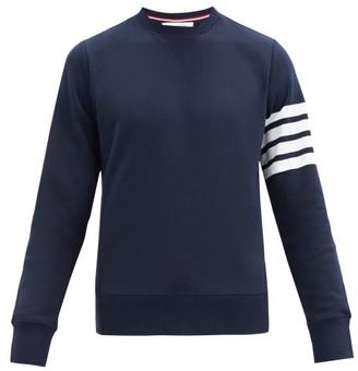 Thom Browne Four Bar Intarsia Stripe Cotton Sweatshirt - Mens - Navy