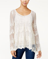 American Rag Embroidered Lattice-Back Top, Only at Macy's