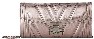 MCM Patricia Quilted Flap Wallet/Bifold Large on a Chain (Berlin Silver) Handbags