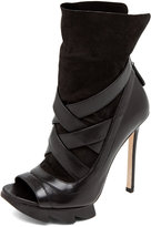 Camilla Skovgaard Cross Strap Sock Bootie with Saw Sole in Black