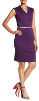 Ellen Tracy Belted Scuba Sheath Dress