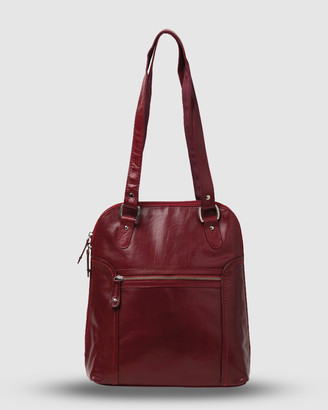 Cobb & Co - Women's Red Leather bags - Poppy Leather 2 in 1 Convertible Backpack - Size One Size at The Iconic