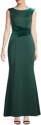 Vince Camuto Sleeveless Boatneck Velvet-Panel Gown