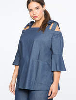 ELOQUII Chambray Tie Shoulder Tunic