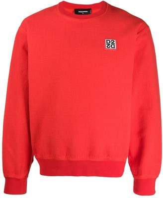 DSQUARED2 D2 logo patch textured sweatshirt