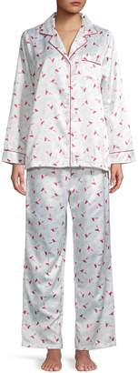 Carole Hochman Cardinal-Print Satin-Trim Pajama Set