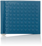 Balenciaga Men's Grid-Embossed Money Clip Wallet-BLUE