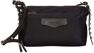 Rebecca Minkoff Bowie Top Zip Nylon Crossbody (Black) Handbags