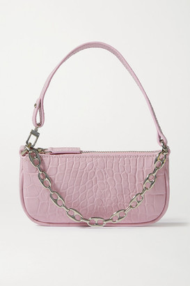 BY FAR Rachel Mini Chain-embellished Croc-effect Leather Shoulder Bag - Pink