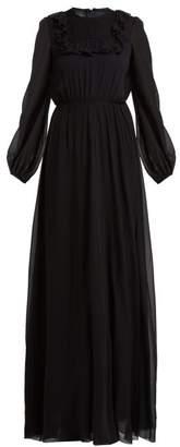 Giambattista Valli Ruffle-trimmed Smocked Silk Crepe De Chine Gown - Womens - Black