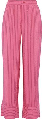 Ganni Lynch Striped Silk-blend Seersucker Straight-leg Pants