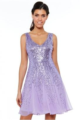 Goddiva Lavender Sequin & Chiffon Mini Dress