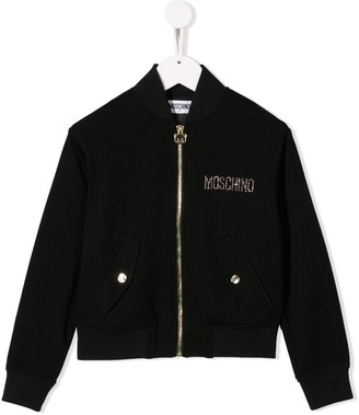 MOSCHINO BAMBINO Sequinned Bear Bomber Jacket