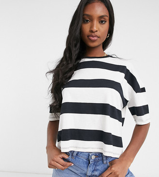 Asos Tall ASOS DESIGN Tall boxy cropped t-shirt with chunky stripe in black