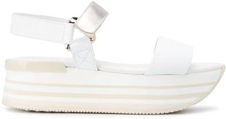 Hogan Striped-Platform Sandals
