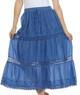 Sakkas 354 Solid Embroidered Lace Gypsy Bohemian Mid Length Cotton Skirt - /