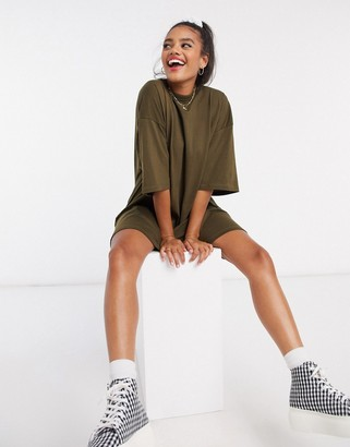 ASOS DESIGN oversized t-shirt dress in khaki