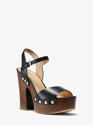 MICHAEL Michael Kors Leonor Leather Platform Sandal