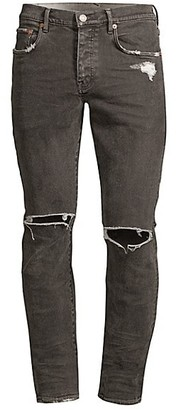 Purple Brand P001 Slim Fit Coated Ripped Jeans