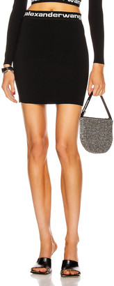 Alexander Wang Bodycon Bi-Layer Logo Mini Skirt in Black & White | FWRD