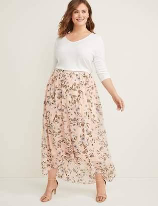 Lane Bryant Clip Dot High-Low Maxi Skirt