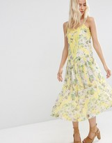 Asos Premium Pretty Floral Midi Cami Dress with Lace Insert