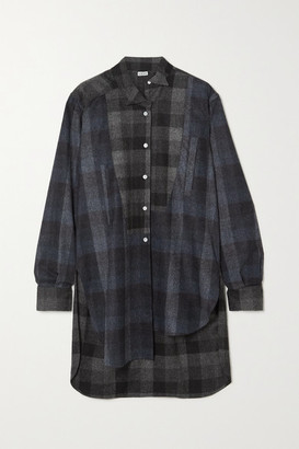 Loewe Checked Wool-flannel Shirt - Black