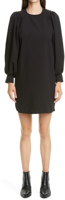 Ganni Long Sleeve Crepe Shift Dress