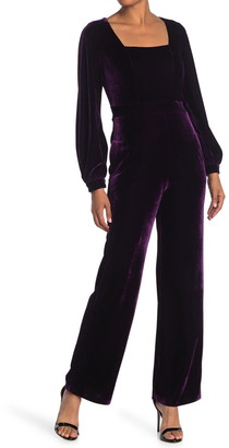 Donna Morgan Square Neck Long Sleeve Velvet Jumpsuit