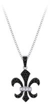 Zales 1/4 CT. T.W. Enhanced Black and White Diamond Fleur-de-Lis Pendant in Sterling Silver