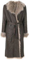 Eleventy shearling belted coat