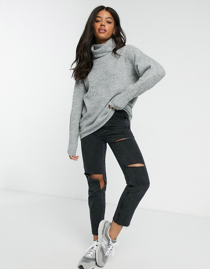 Thumbnail for your product : New Look slouchy roll neck jumper in light grey