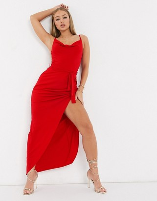 AX Paris cowl neck maxi dress in red