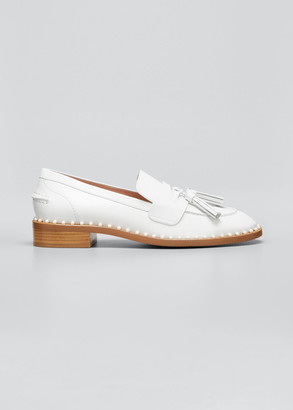 Stuart Weitzman Kaylene 20mm Studded Leather Tassel Loafers