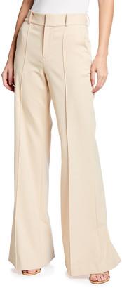 Alice + Olivia Paula High-Waist Pintuck Pants with Slit Hem