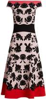 Alexander McQueen Rose-intarsia off-the-shoulder knit dress