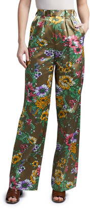 MARC JACOBS, RUNWAY Floral Satin Pleated Pants