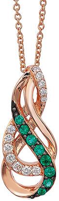 LeVian Le Vian 14K Rose Gold 0.23 Ct. Tw. Diamond & Costa Smeralda Emerald Pendant Necklace