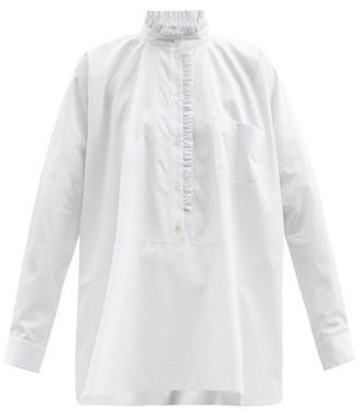Zanini Ruffled Checked Cotton-poplin Shirt - White Multi