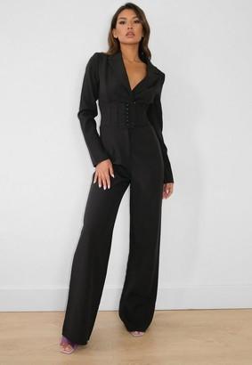 Missguided Tall Black Tailored Corset Waist Blazer Romper