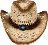 Simplicity Men's & Women's Western Style Cowboy / Cowgirl Straw Hat with Bull Big Bead Band - Beige